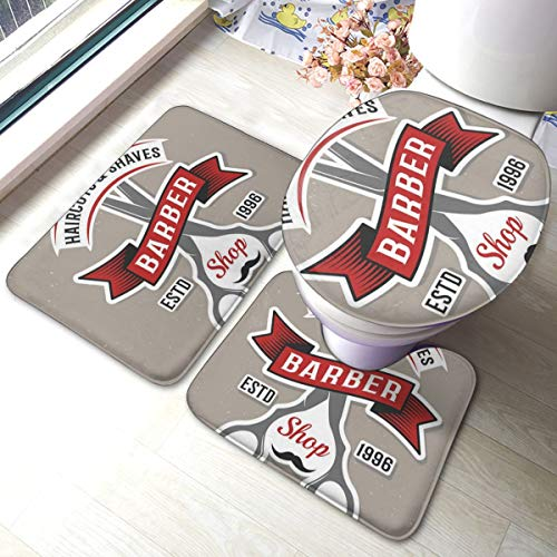 Houity 3-delige badmat set kleur kapper schaar poster vector afbeelding badkamer tapijt matten set 3 stuk anti-slip kussens bad mat + contour + wc deksel