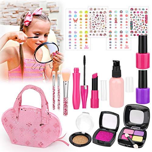 HOWAF Kinderschminke Set Mädchen Kosmetik Spielzeug Schminke Kinder Schminkkoffer Mädchen Kinder Makeup-Set Rollenspiel Spielzeug Geschenk ab 3 4 5 Jahre