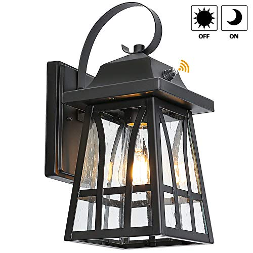 Outdoor Wall Lantern with Dusk to Dawn Photocell, LED Bulb Included, Matte Black Wall Light Fixtures, Architectural Wall Sconce for Entryway, Porch and Doorway, ETL Listed