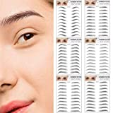 6D Hair-Like Authentic Eyebrow Transfers Stickers 6 Sheets 60 Pairs, Waterproof Eyebrow Tattoo Natural Eyebrow Stickers False Eyebrow, Long Lasting Imitation Eyebrows for Women & Man Makeup Tool Black