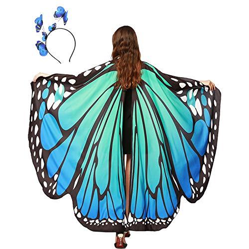 panthem Karnevalskostüm Damen Schmetterling Umhang für Fasching mit Haarreif, Schmetterlingsflügel Schmetterlinge Flügel Schal Karneval Kostüm Erwachsene Poncho für Halloween Cosplay Party