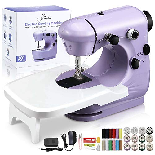 Jeteventy Maquina de Coser,Sewing Machine Mini Máquina de Coser eléctrica portátil,con Kit de Costura y Mesa de Costura, para DIY Hogar Tela