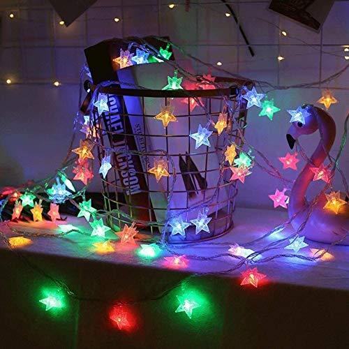 40 LEDs 6m Weihnachten Lichterkette,Lichterketten Nacht Weihnachten Sternenvorhang,LED Lichterkette Sterne,Lichterkettenvorhang,Dekorative Sterne Lichterkette,Weihnachtsbeleuchtung