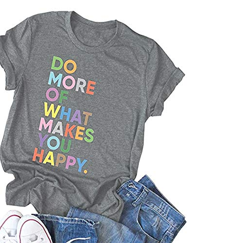 DORFALNE Women's Fun Happy Graphic Tees Summer Cute Round Neck Short Sleeve Letter Printed T-Shirts Light Grey