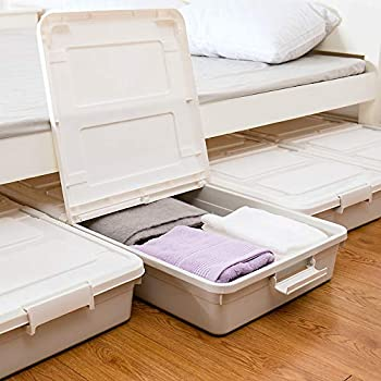 3 Pack Large Rolling Under Bed Storage Bin With Wheels Sliding Underbed Plastic Containers With Lid Open From Both Sides 37 x 19 x 7.3 inches