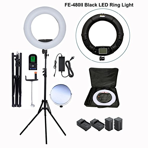 """Yidoblo 96w 18 """"led ring light kit photo studio video portrait selfie maquillage youtube lighting bicolor with remote,phone/camera holder,mirror,light stand,batteries,chargers,carry bag"""
