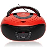 Grouptronics GTCD-501 Red Portable Stereo CD Player BoomBox And Portable Radio - With