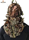 Arcturus Camo 3D Leaf Ghillie Camouflage Mask. Leafy, Full Coverage, Breathable Hunting Mask with Customizable Fit. Great for Turkey Season! (All Season Hardwood)