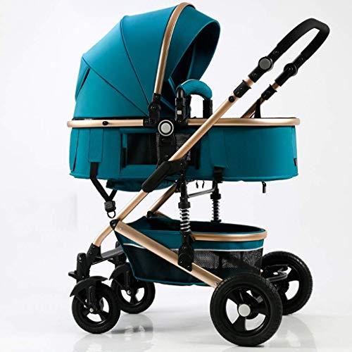 MNBV Kinderwagenwagen, Deluxe Puppenwagen  Kinderwagen Puppe mit Kutschentasche, Komfort Kinderwagen (Farbe: Di blau)