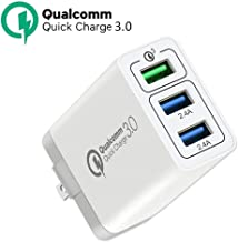 Quick Charge 3.0 USB Fast Wall Charger, 30W 3 Ports USB Travel Quick Charger Adapter QC 3.0 Fast Charging Block Plug Compa...