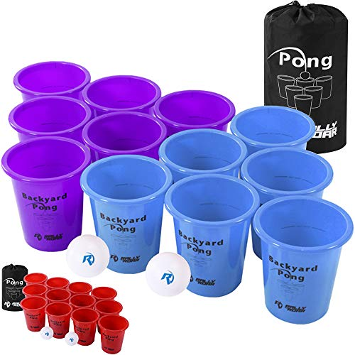 Jumbo Beer Pong Set for Outdoors by Rally and Roar – Dual Colored Cups - Fun Drinking Games for Adults, College Age - Jumbo Cup and Pong Throwing Game for Yard, Party, Bar, Lawn, Backyard, Tailgating