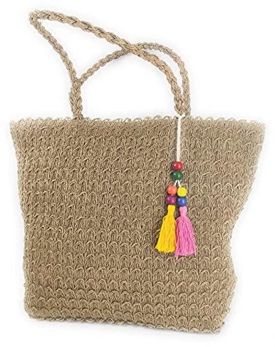 Faylinn > Bolso Paja Tejido de Hombro de mujer Pompon Flecos | Bolso de Playa con Estilo - Laura Medidas 39 x 35 x 14 cm.
