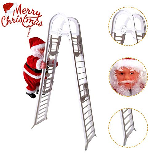 JIMACRO Santa Climbing Rope Ladder, Electric Christmas Santa Claus Climbing Ladder with Music Plush Doll for Hanging Ornament Tree Indoor Outdoor Decoration (Straight Ladder) (Double Ladder)