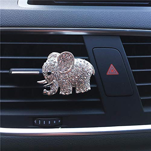 FOLCONROAD Auto Diamond Elephant Car Air Conditioning Outlet Clip Decorative (Full Silver)[US Warehouse] Christmas Gifts