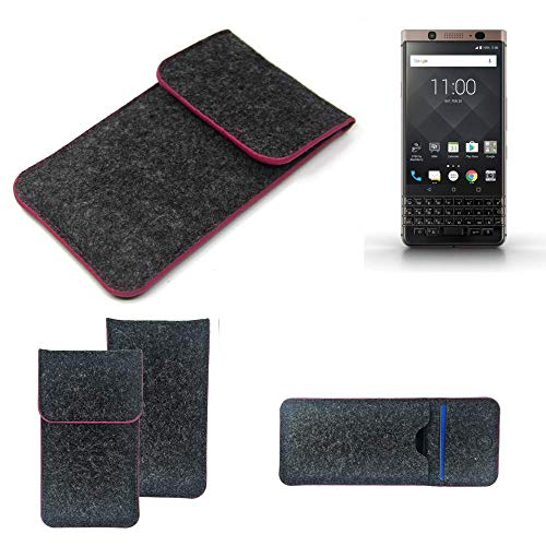 K-S-Trade Filz Schutz Hülle Für BlackBerry KEYone Bronze Edition Schutzhülle Filztasche Pouch Tasche Hülle Sleeve Handyhülle Filzhülle Dunkelgrau Rosa Rand