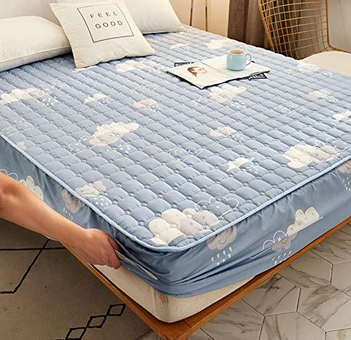 XLMHZP Funda colchon Cuna,Ropa de Cama de Dibujos Animados Acolchada Cubierta de colchón Impermeable sábana Gruesa de Calor Lavable sábana Grande Cama Doble Individual-Q_200x200cm+30cm