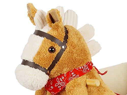 Dunjo® Schaukelpferd Plüsch | Baby Schaukeltier Pony | Für Kinder Jungen Mädchen 1 – 3 Jahre | mit Sicherheitsgurt Rollen und Musik - 4