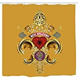 wanshangcheng Queen New Orleans Fleur De Lis PC Gold Bathroom Shower Curtain Funny Shower Curtains Durable Bath Waterproof Bathroom 6072 Inch 66x72 Inch