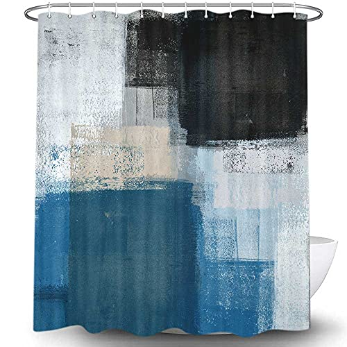 Navy Blue and Gray Abstract Art Shower Curtain for Bathroom, Grey Beige Black White Modern Design Painting Fabric Shower Curtains Set, Restroom Decor Accessories with Hooks 72X72