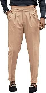 Bbalizko Mens Gurkha Pants Cotton Pleated Adjustable Waist Buckle Straight-Fit Trousers