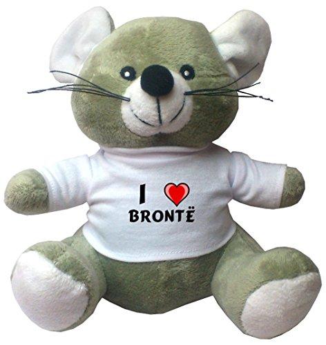 Maus Plüschtier mit Ich liebe Brontë T-Shirt (Vorname/Zuname/Spitzname)