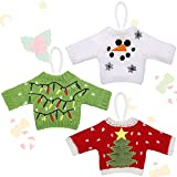 3 Pieces Ugly Sweater Party Christmas Snowman Ornament Kits to Make Embroidery Sweater Design Hanging Christmas Ornaments Holiday Crafts for Kids Christmas Tree