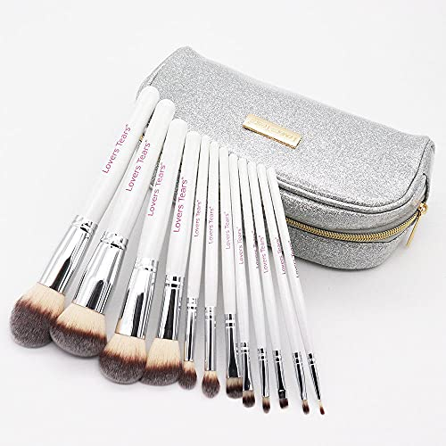 SXPSYWY Bolso de cepillo cosmético 12 Principiantes Pincel de maquillaje Conjunto de pincel suelto Cepillo de ojos Shadow Cepillo Herramientas de belleza-Paquete de pincel de maquillaje de plata