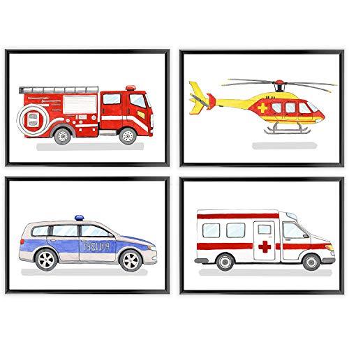 Frechdax® Kinder Poster Kinderzimmer Deko Posterset Junge Fahrzeuge DIN A4 | (» Polizei, Feuerwehr, Krankenwagen «)
