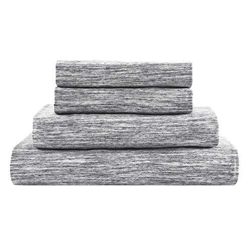 Brielle Cotton Jersey Knit (T-Shirt) Sheet Set, Full, Melange Light Grey