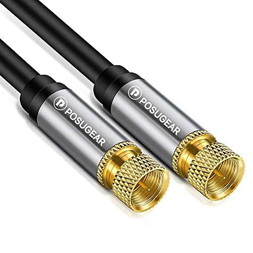 POSUGEAR Cable de Antena/Sat 2M, Cable de Satélite HDTV Coaxial Conector F a Conector Coaxial F de Audio y vídeo HDTV- Contactos Dorados, Factor de blindaje 135 dB - Resistencia 75 ohmios