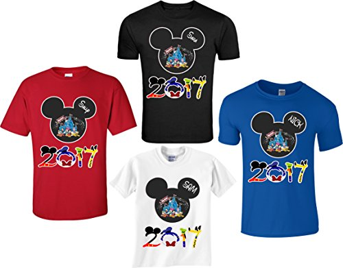 Disney Family Vacation Mickey T-Shirts Matching Cute T-Shirts (XL Adult, Red)