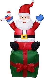 Watkings 1.8m Inflable Papá Noel, Inflable soplado por el Aire Navidad Papá Noel, al Aire Libre Gran diversión Decoración navideña Yarda Arco Adorno para jardín