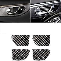 車内カーボンファイバー装飾 四ピースカーボンファイバーカー内扉ボウルハンドルステッカー内部の装飾は、インフィニティQ50 Q60に適し、ステッカーを修正しました