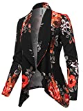 Solid Formal Style Open Front Long Sleeves Blazer - Made in USA Black Floral 3XL