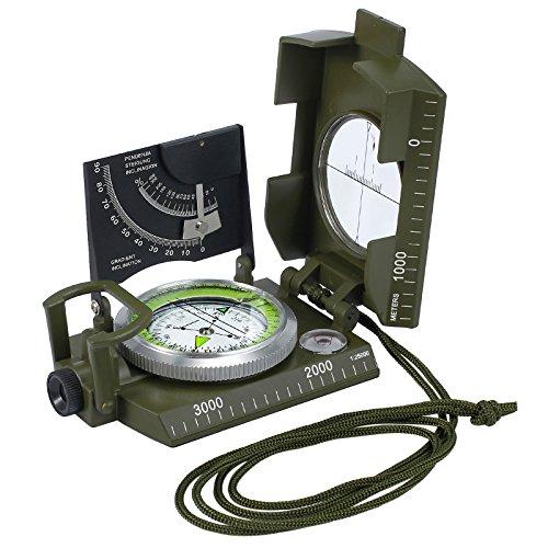 Neoteck Bussola Militare Multifunzioni Clinometro Metallo Professionale Impermeabile Scocca con Borsetta Portatile per Campeggio Caccia Escursione Geologia ed Altre Attività Esterne