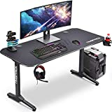 55' W T-Shaped Large Gaming Desk, Gamer Tables Racing Style Worksatation with Full Mouse Pad, Cup Holder, Headphone Hook, 2 Cable Management Holes, 55' W x 23' D, Black