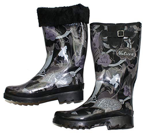 Sakroots Women's Fur Lined Artistically Printed Rain Boots (Black Tone Pea, 10)