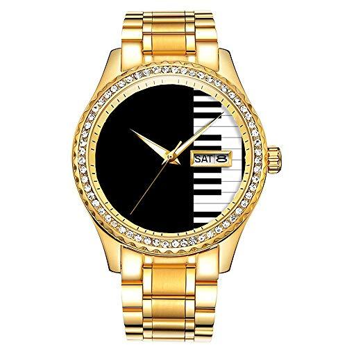 Diamantvergoldete Uhr Luminous Luxury Waterproof Einzigartige Gold-Armbanduhr 185.Grand Piano