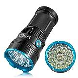 NIXKO Linterna LED impermeable 12000 lúmenes 12xCREE XM-L T6 Función de autodefensa Antorcha 3 Modos de interruptor Proyector Reflector Linterna táctica portátil para hogar y exteriores