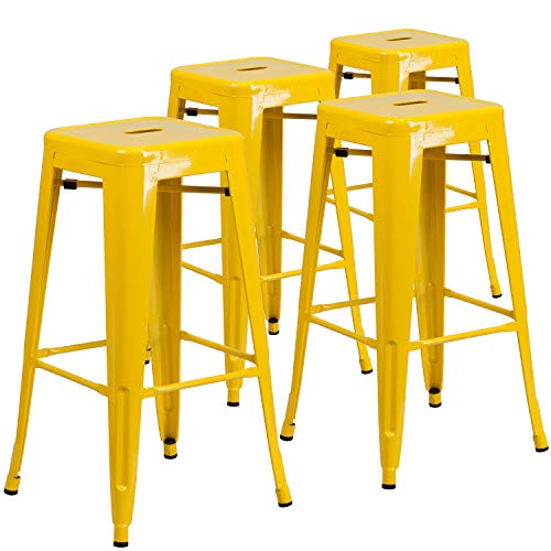 Flash Furniture 4 Pack Commercial Grade 30″ High Backless Yellow Metal Indoor-Outdoor Barstool with Square Seat
