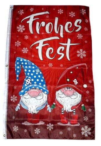 Fahne/Flagge Frohes Fest Wichtel Weihnachten 90 x 150 cm