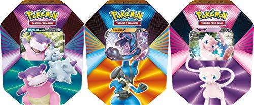 PoKéMoN Pokébox Februar 2021 – Sammelkartenspiel (zufälliges Modell Flagadoss von Galar – V oder Lucario – V oder Mew – V) POB39, Mehrfarbig