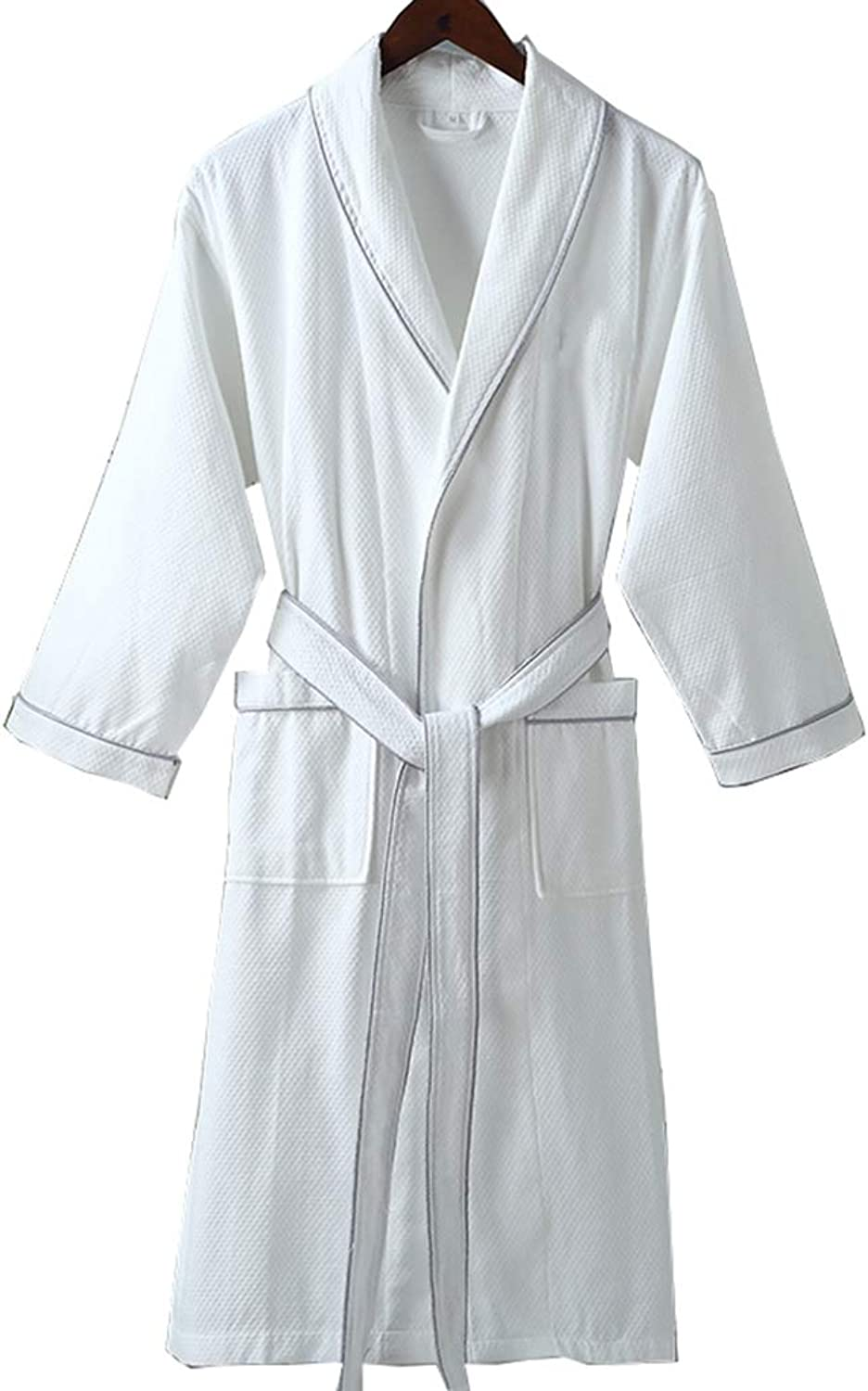 Bathrobe Dressing Gown Robe Cotton Thin Paragraph Robe Luxury Shawl Bath Towel Soft Water Absorption   Unisex Models   White (Size   M)