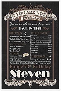 70th Birthday Chalkboard Born in 1949 White Text Stats Poster