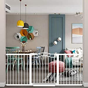 Fairy Baby Extra Wide Baby Gate for Kids Or Pets Walk Thru Dog Gates for The House Doorway Child Safety Gate 73.62″-76.38″
