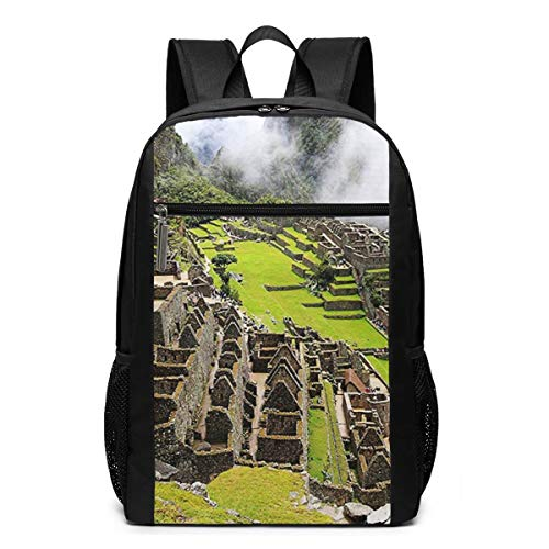 OMNVEQ Mochila Escolares Machu Picchu, Mochila Tipo Casual para Niñas Niños Hombre Mujer Mochila para Ordenador Portátil Viaje