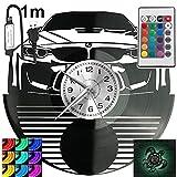 Reloj de pared con diseño de coche deportivo alemán, con luz LED RGB y piloto para mando a distancia, disco de vinilo, moderno y decorativo para regalo