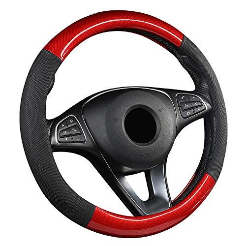 ZJSWC Cubierta del Volante, Tela De Fibra De Carbono para Automóvil/Camión/SUV/Camioneta, Tamaño 38 Cm - Rojo
