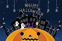 HD ハロウィンの写真の背景トリックオアトリートハロウィンカーニバル・イヴパーティー写真撮影スタジオの小道具ビニールメーカーの壁紙に紫色の猫とハッピーハロウィン背景ダンス幽霊10x7ft