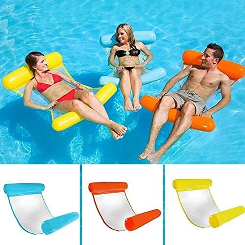 QUQU Adulto Plegable Piscina Hamaca portátil Flotante Inflable Tumbona Piscina Anillo adecuados el Agua Recreación Summer Beach Party al Aire Libre, Color: Amarillo, Azul (Color : Red)